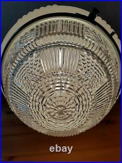 Antique 1920s 30s Large Art Deco Hanging Glass Ceiling Light/Lamp Fixture, Metro