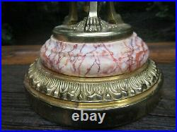 Antique 1920s Art Deco Egyptian Revival Brass and Alabaster Marble Lamp RESTORED