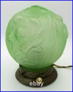 Antique 1920s European ART DECO Table Lamp /w Green Round Glass Globe Shade