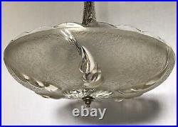 Antique 1930s Art Deco Glass Ceiling Light Lamp Fixture Chandelier 15