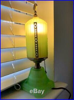 Antique 1930s Art Deco Uranium Glass Lamp