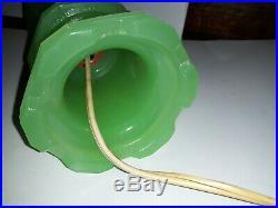 Antique 1930s Art deco Nouveau Jadeite vaseline slag Glass 10 Lamp mint cond