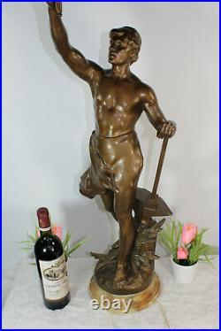 Antique 42.5 huge Spelter bronze Statue sculpture art deco signed Lamp