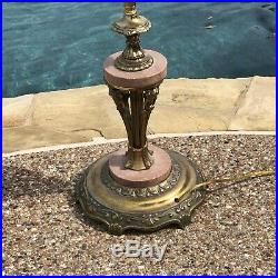 Antique ART DECO Brass Bridge FLOOR LAMP / Ornate Vintage Light w Marble trim