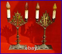 Antique ART DECO CAST IRON PAIR of TABLE LAMPS 22 3/4 Tall with FLAME BULBS