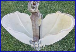 Antique ART DECO lamp SLIP SHADE CHANDELIER light CEILING sconce METAL flowers