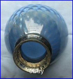 Antique Art Deco 6 Blue Mercury Glass X-Ray lamp Shade Signed