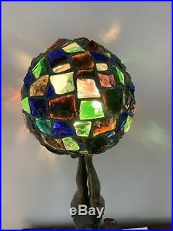 Antique Art Deco Acrobat Burlesque Lady Lamp Chunk Leaded Glass Jeweled Shade