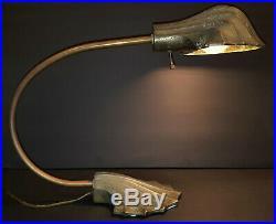 Antique Art Deco Art Nouveau Industrial Shell Table lamp Light Bent copper Rod