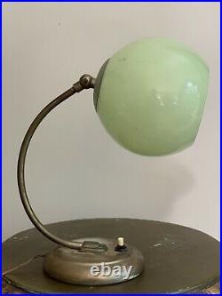 Antique Art Deco Bauhaus German Desk Lamp Jadeite Green Chrome Restoration Parts