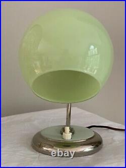 Antique Art Deco Bauhaus German Desk Lamp Jadeite Green Chrome Swivel