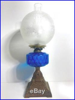Antique Art Deco Blue Depression Glass Kerosene Banquet Lamp 1920s