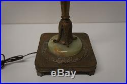 Antique Art Deco Brass Candelabra Floor Lamp Torchiere Light Milk & Slag Glass