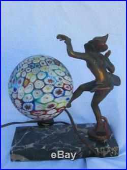 Antique Art Deco Bronze Gerdago Pixie Lamp with Milifiore Glass Globe 1925-30