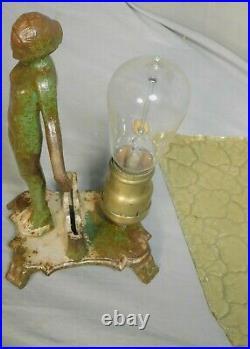 Antique Art Deco Cast Iron Nude Female Statue Figural Lamp 1925 Vintage PAINT