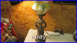 Antique Art Deco Cast Metal Figural Lady Lamp & Shade