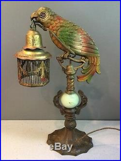 Antique Art Deco Cold Painted Diamond F Clevleand OH Parrot Table Lamp Works 15