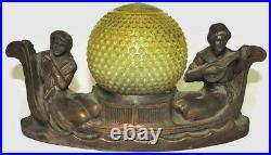 Antique Art Deco Figural Man & Woman Desk Table Lamp Light Fixture Copper 13