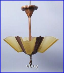 Antique Art Deco Fountain Slip Shade Hanging Light Fixture Chandelier to Restore