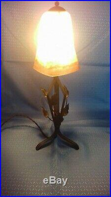 Antique Art Deco French Lamp Degué. 1930 glass and wrought iron signed