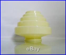 Antique Art Deco French Uranium Glass Cream Stepped Table Light Lady Lamp Shade