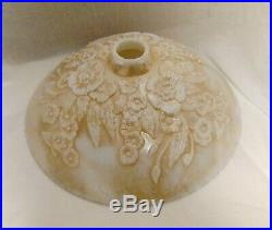 Antique Art Deco Gold Luster Embossed Floral Torchiere Floor Lamp Shade