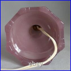 Antique Art Deco HOUZEX Purple Lavender Art Glass Table Vanity Candlestick Lamp