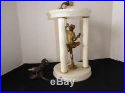 Antique Art Deco Italian Alabaster Pavillion Cold Painted Pixie Lamp No Shade