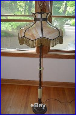 Antique Art Deco Jadeite Glass Cast Iron Bronze Art Floor Lamp