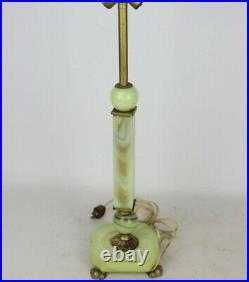 Antique Art Deco Jadeite Uranium Slag Vaseline Houze Glass Lamp Akro Agate Works