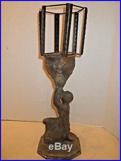 Antique Art Deco Kneeling Lady Lamp Native American Spelter Metal Vintage AS IS