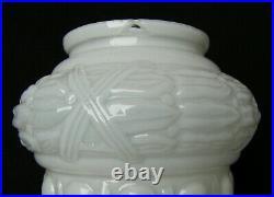 Antique Art Deco Lot Of 3 White Opaline Milk Glass Globes Lamp Light Shades Set