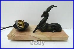 Antique Art Deco Marble Base Bronze Antelope Deer Statue Table Lamp Desk Bedside