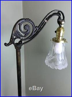 Antique Art Deco Nouveau Bridge Floor Lamp Reading Light Victorian Ornate Vtg
