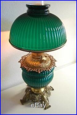 Antique Art Deco Nouveau Oil Emerald Green Fostoria Student Ribbed Glass Lamp