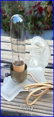 Antique Art Deco Nude Skyscraper Frosted Lady Boudoir Lamp