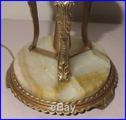 Antique Art Deco Onyx with Angels Figures Bridge Floor Lamp