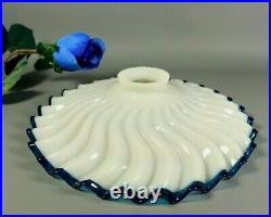 Antique Art Deco Opaline Milk Glass Blue Trim French Pulley Lamp Shade 1930s