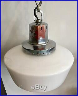 Antique Art Deco Opaline White Glass Pendant Ceiling Light Lamp Chrome Gallery
