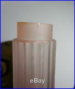 Antique Art Deco Pink Glass Brass Skyscraper Bullet Pair Lamps Woman