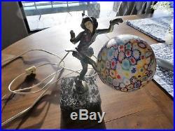 Antique Art Deco Pixie Lady Dancer Statue Lamp Millefiori Sphere Globe Shade