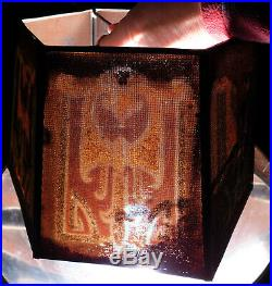 Antique Art Deco REMBRANDT Lamp Shade Screen Glass Beads Sand Stencil Airbrush