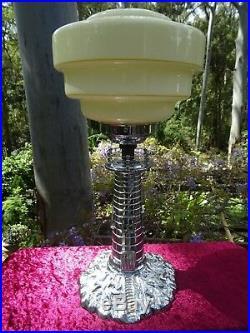 Antique Art Deco Rare Chrome Brass Lighthouse Lamp with Glass Shade