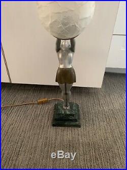 Antique Art Deco Signed Figural Deco Lamp Original Ball Shade Signed