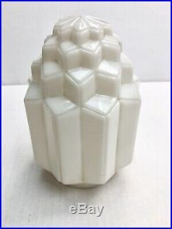 Antique Art Deco Skyscraper White Milk Glass Ceiling Light Lamp Shade