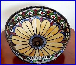 Antique Art Deco Slag Stain Glass Leaded Ceiling Lamp Shade Tiffany Style Craft