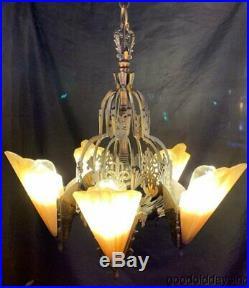 Antique Art Deco Slip Shade Light Fixture Chandelier Lamp MidWest Mfg. Soleure