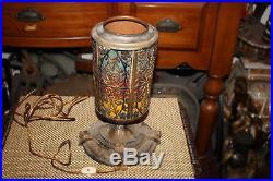 Antique Art Deco Table Lamp-Floral Flower Designs-Lion Faces On Base