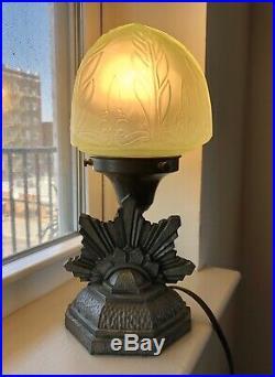 Antique Art Deco Uranium Glass Lamp