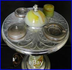 Antique Art Deco ashtray lighted smoking stand slag glass chrome AB Mico 1930s